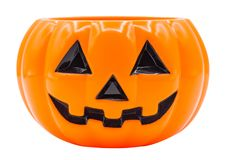 Halloween. Pumpkin face isolated on white with path Stock Photo