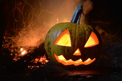 Halloween. halloween pumpkin. With fire background Royalty Free Stock Photo