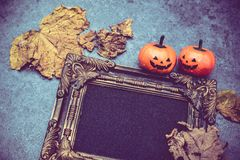 Halloween. Pumpkin with frame and copy space Royalty Free Stock Photo