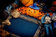 Halloween. Pumpkin with frame and copy space Stock Photography