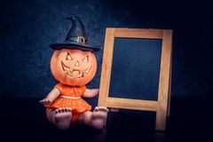 Halloween. Pumpkin, trick or treat with frame and copy space Stock Images