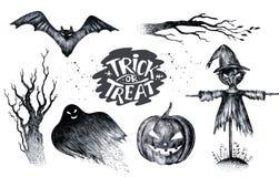Halloween-hand die zwart wit grafisch vastgesteld pictogram, getrokken Hallo trekken royalty-vrije illustratie