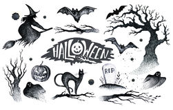 Halloween hand drawing black white graphic set icon, drawn Hallo. Ween symbols pumpkin, broom, bat, witches. Horror  elements pumpkins, ghosts, witches, bats Royalty Free Stock Image