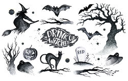 Halloween hand drawing black white graphic set icon, drawn Hallo. Ween symbols pumpkin, broom, bat, witches. Horror  elements pumpkins, ghosts, witches, bats Stock Photography