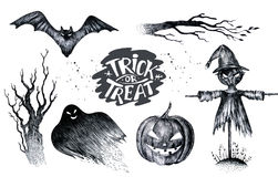 Halloween hand drawing black white graphic set icon, drawn Hallo. Ween symbols pumpkin, broom, bat, witches. Horror  elements pumpkins, ghosts, witches, bats Stock Photo