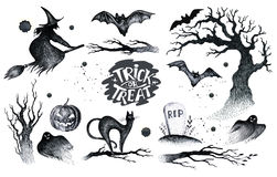 Halloween hand drawing black white graphic set icon, drawn Hallo. Ween symbols pumpkin, broom, bat, witches. Horror  elements pumpkins, ghosts, witches, bats Stock Image