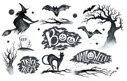 Halloween hand drawing black white graphic set icon, drawn Hallo. Ween symbols pumpkin, broom, bat, witches. Horror  elements pumpkins, ghosts, witches, bats Royalty Free Stock Photo