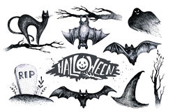 Halloween hand drawing black white graphic set icon, drawn Hallo. Ween symbols pumpkin, broom, bat, witches. Horror  elements pumpkins, ghosts, witches, bats Stock Photos