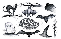 Halloween hand drawing black white graphic set icon, drawn Hallo. Ween symbols pumpkin, broom, bat, witches. Horror  elements pumpkins, ghosts, witches, bats Stock Images