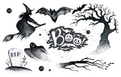 Halloween hand drawing black white graphic set icon, drawn Hallo. Ween symbols pumpkin, broom, bat, witches. Horror  elements pumpkins, ghosts, witches, bats Royalty Free Stock Photography