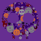 Halloween hand drawing set of elements. Full color Stock Photography
