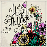 Halloween hand drawn card with skull in flowers Royalty Free Stock Photos