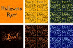 Halloween hand drawn cartoon backgrounds set Stock Photography