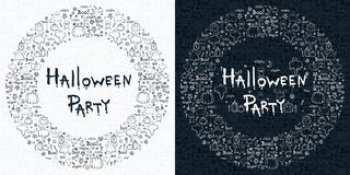 Halloween hand drawn cartoon background,  illustration Royalty Free Stock Image