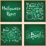 Halloween  hand drawn cartoon picture white chalk on a blackboard Stock Photos