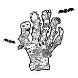 Halloween hand drawn doodle. Dead Man`s hand. Funny abstract ill Stock Images