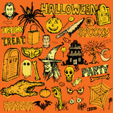 Halloween hand drawn doodle elements Stock Photography