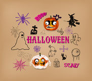 Halloween hand drawn elements Royalty Free Stock Photography