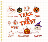 Halloween hand drawn elements Royalty Free Stock Images