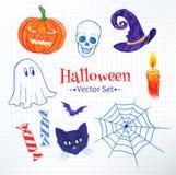 Halloween hand drawn felt pen doodles Stock Photography