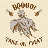 Halloween hand drawn ghost. Halloween hand drawn card - ghost trick or treat Stock Image