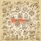 Halloween. Hand-drawn icons. Authors illustration in vector Stock Photo