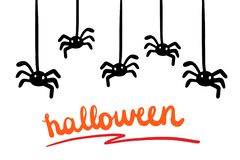 Halloween hand drawn  illustration in cartoon style. Lettering and spiders. Orange black white stock illustration
