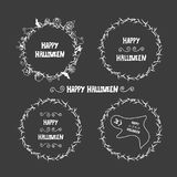 Halloween hand drawn invitation or greeting Cards.   Stock Image