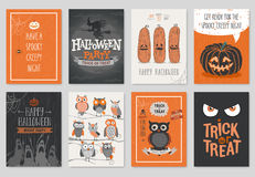Halloween hand drawn invitation or greeting Cards set. Stock Photos