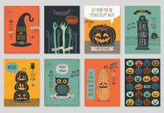 Halloween hand drawn invitation or greeting Cards set. Stock Images