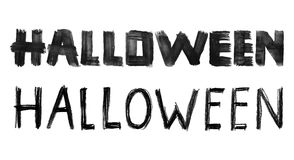 Halloween hand drawn lettering. Ink brush Halloween typography, isolated on white royalty free illustration