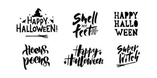 Halloween - hand drawn lettering set typography royalty free illustration