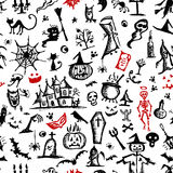 Halloween hand drawn pattern for your design Royalty Free Stock Photos