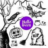 Halloween Hand Drawn Set Stock Photos