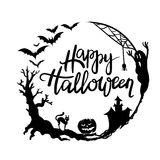 Halloween hand lettering. Hand Lettering Halloween with Circle Frame vector illustration