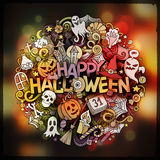 Halloween hand lettering doodles elements and symbols emblem Stock Photo