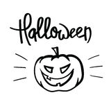 Halloween hand lettering. Hand Lettering Halloween with Hand Drawing Pumpkin. Isolated on White Background stock illustration