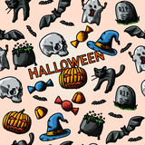 HALLOWEEN handdrawn pattern with pumpkin, witch Royalty Free Stock Images