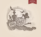 Halloween handdrawn pumpkins on graveyard bat engraving template Royalty Free Stock Photography