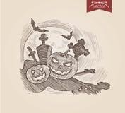 Halloween handdrawn pumpkins on graveyard bat engraving template. Halloween handdrawn pumpkins on graveyard bat engraving style template poster banner print web Stock Illustration