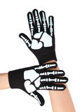 Halloween handskar med det skelett- trycket Royaltyfri Fotografi