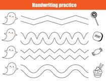 Halloween handwriting practice sheet. Educational children game, printable worksheet for kids. Halloween handwriting practice sheet. Educational children game vector illustration