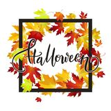 Halloween handwritten calligraphic text banner with red autumn l Stock Illustration
