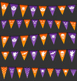 Halloween hanging flags with different symbols Royalty Free Stock Photo