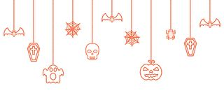 Halloween hanging ornaments background. Vector illustration Stock Images