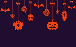 Halloween hanging ornaments background. Vector illustration Royalty Free Stock Photos