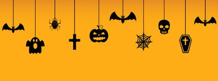 Halloween hanging ornaments on orange background. Vector illustration Royalty Free Stock Image