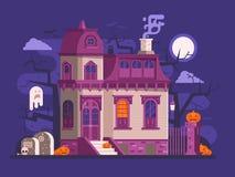 Halloween a hanté la scène de Chambre Images stock