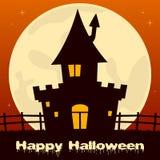 Halloween a hanté la Chambre avec la pleine lune Images stock