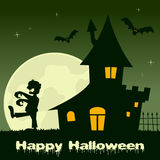 Halloween a hanté la Chambre avec le zombi Images libres de droits